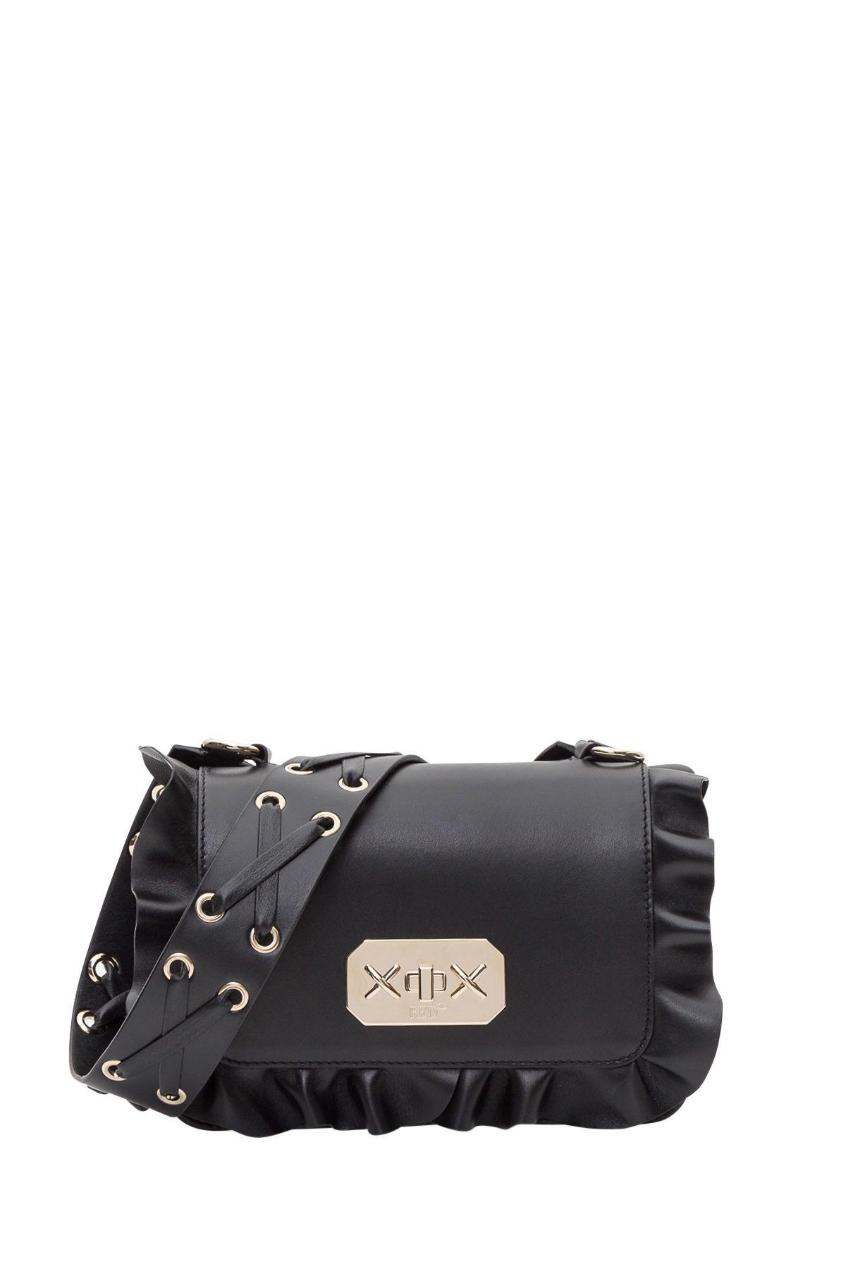 6da8745a19 RED VALENTINO ROCK RUFFLES SHOULDER BAG. #redvalentino #bags #shoulder bags  #leather #lining #cotton