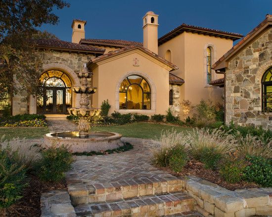Classic Style Home Design: Vaquero Tuscan House: Fascinating Vaquero Tuscan  Garden Beautiful Fountain Water