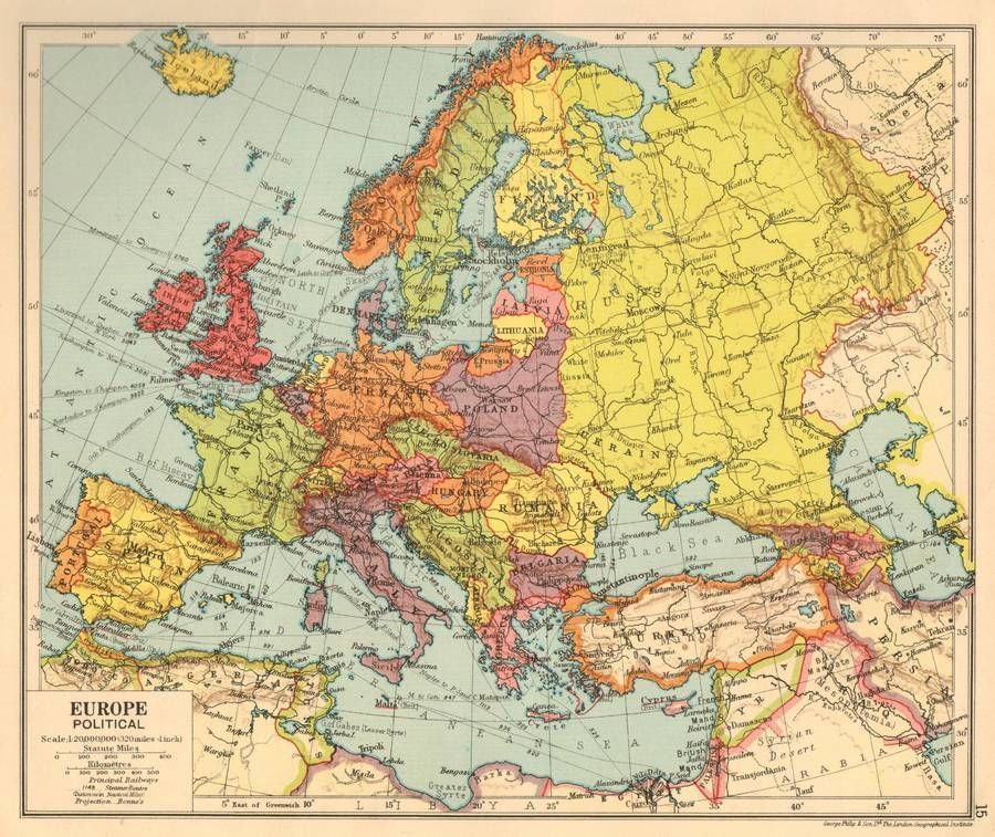 Europe Political 1930 Original Antique Map Maps Vintage Maps
