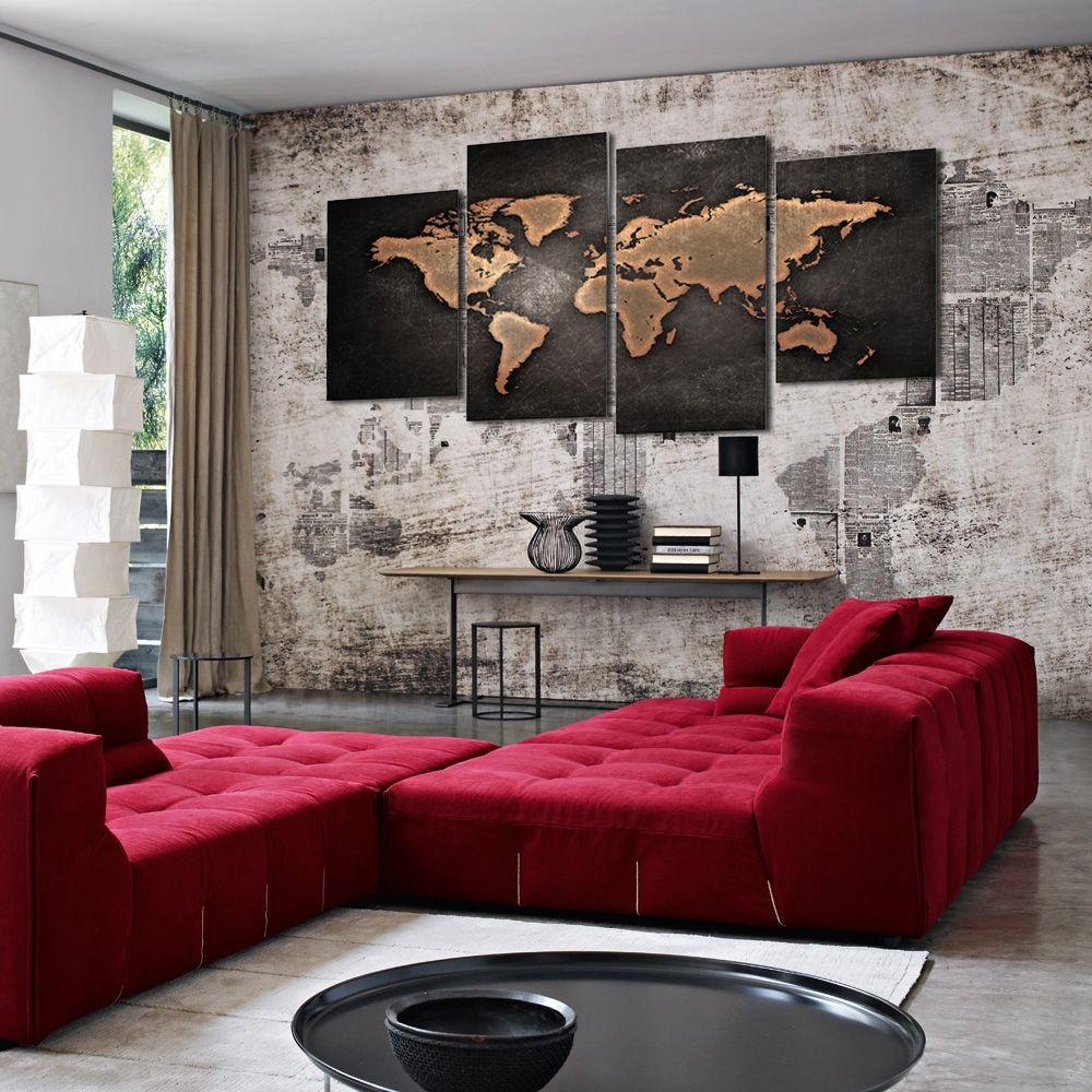 Deco Murale Mappemonde à toile imprim�e design mappemonde pour une d�coration murale moderne