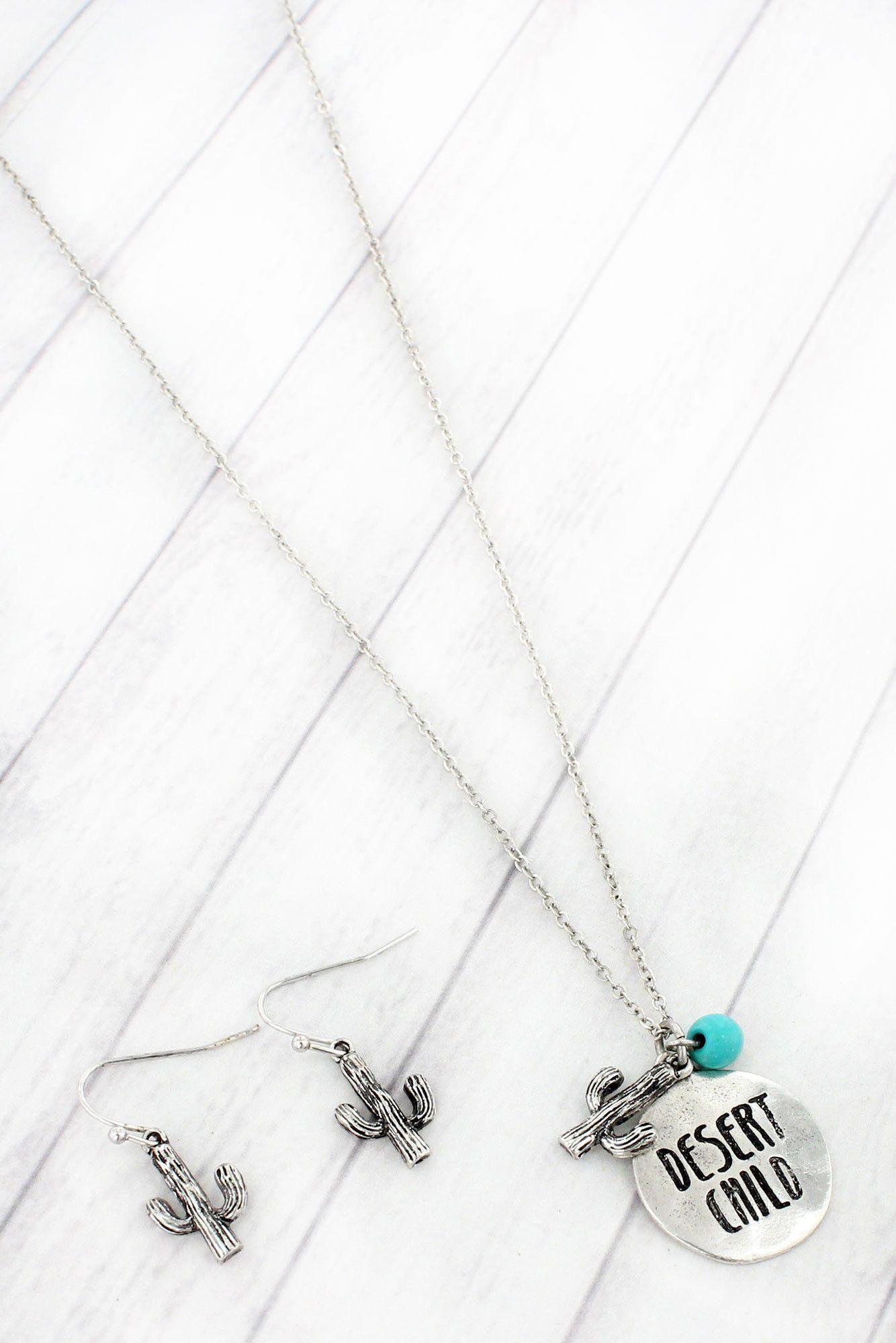 Burnished silvertone udesert childu necklace and earring set ss
