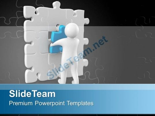3d Man Connecting Puzzle Piece Business Solution PowerPoint - puzzle powerpoint template