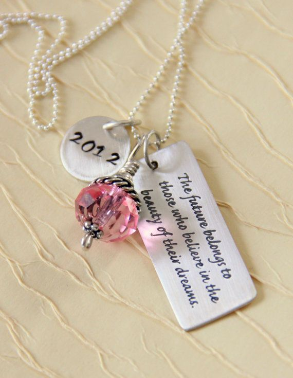 Sterling silver quote necklace dream quote quote necklace sterling silver quote necklace dream quote quote necklace personalized graduation gifts inspirational aloadofball Gallery