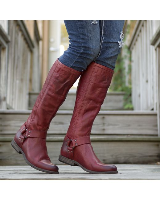 Phillip Harness Tall Boot - Burnt Red