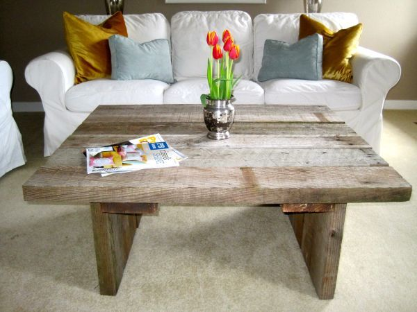 Portland handcrafted reclaimed barn wood coffee table for Reclaimed wood portland oregon