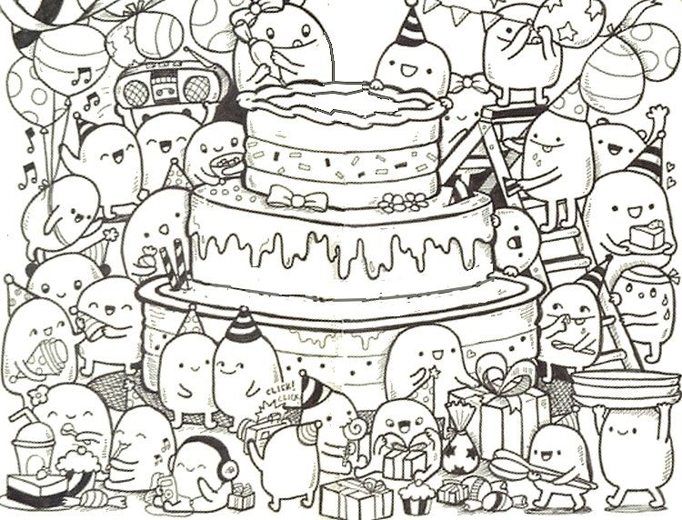 Adult coloring page Happy Birthday Doodle cake 9 Happy
