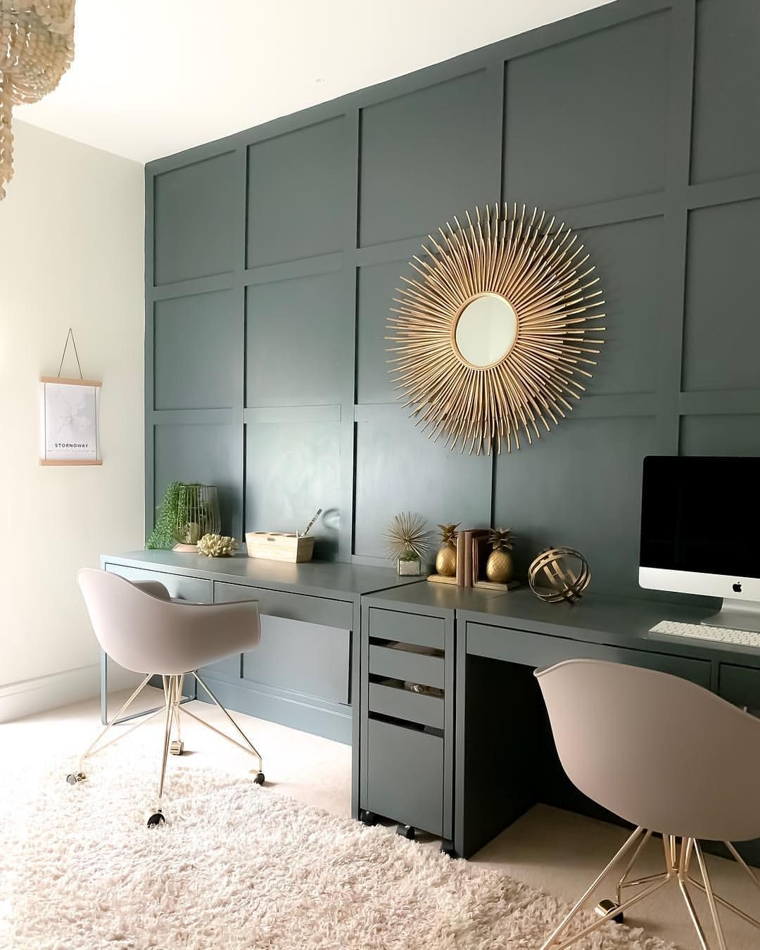 Study Office With Diy Panelled Wall Painted In Farrow Ball Downpipe Home Office Design Home Decor Interior