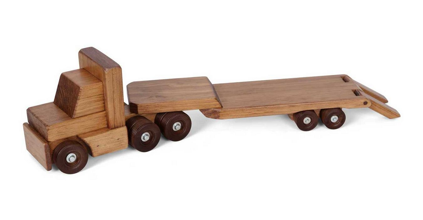 flat bed tractor trailer wood toy - amish handmade wooden
