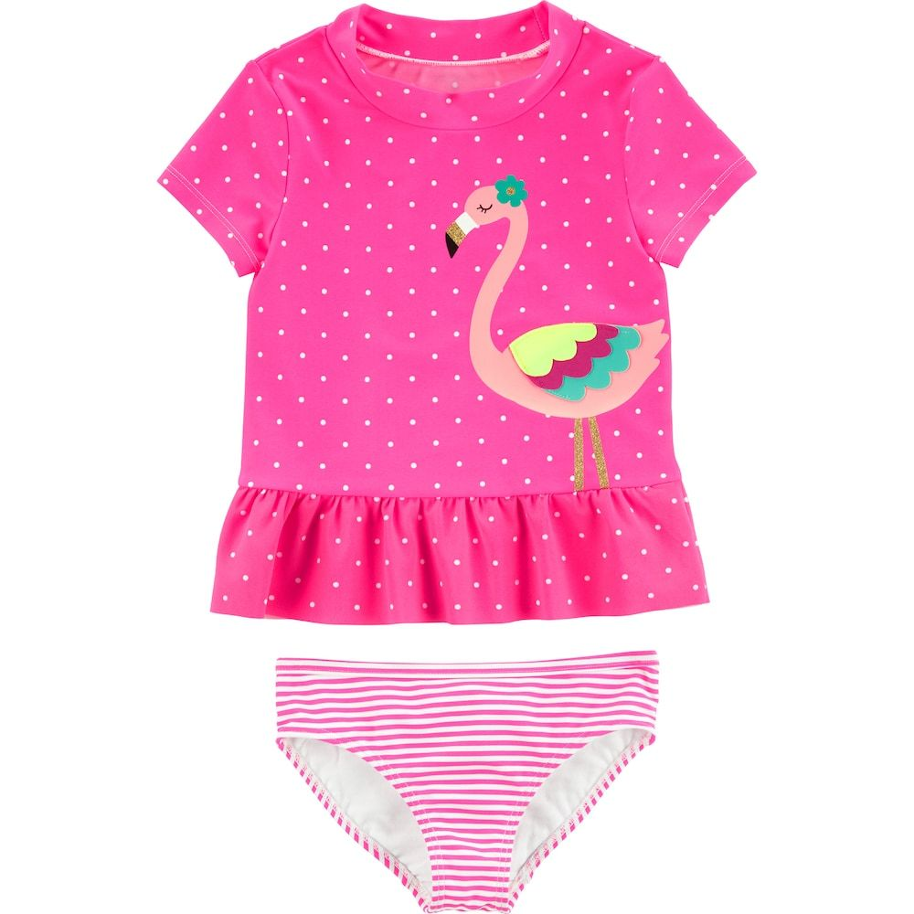 Carters Newborn Infant Girls Fish and Polka Dots 2 Piece Swimsuit