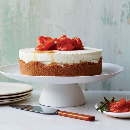 Triple-Cheese Cheesecake with Amaretti Crust // More Fantastic Cheesecakes: http://www.foodandwine.com/slideshows/cheesecake-recipes #foodandwine