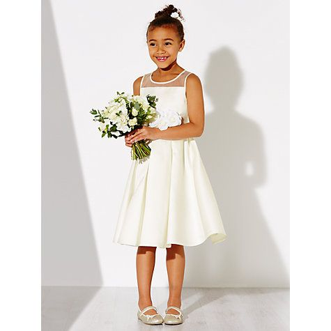 Buy John Lewis Girls\' Alice Satin Mesh Panel Bridesmaid Dress, Ivory ...