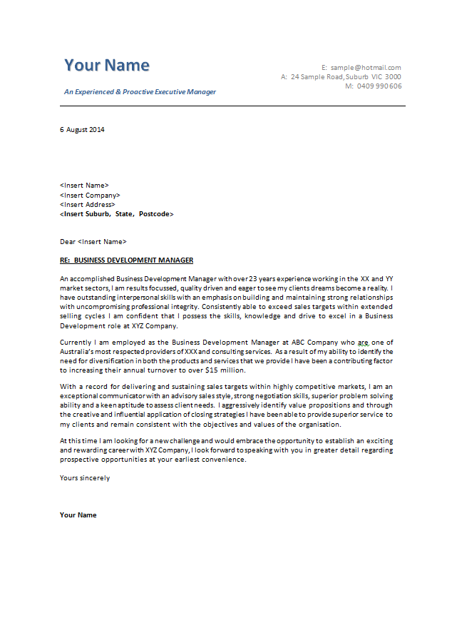 Cover Letter Template Australia Business Letter Format