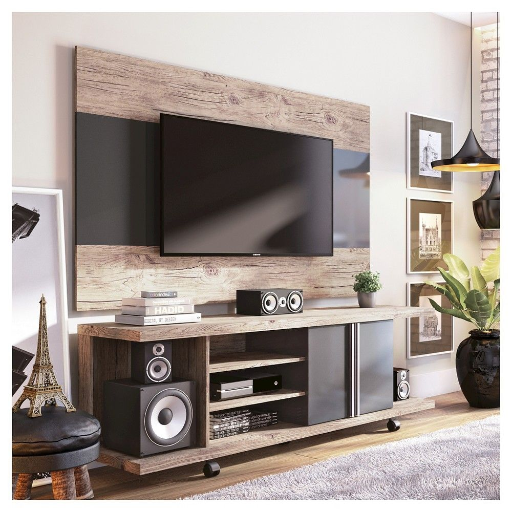 Carnegie Tv Stand And Panel In Nature And Onyx 71 Manhattan  # Muebles Fiasini