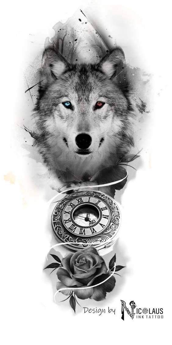 Clock and Wolf – Tattoo Idea – # Clock # and # Wolf – Clock and Wolf – Tattoo Idea – # Clock # and # Wolf –