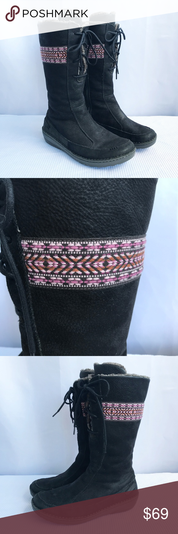 5f02cba05c3a Teva Kiru Boots Black Leather Faux Fur Lined Sz8 Teva Kiru Boots - Pink  Embroidery on top Size  Size  US 8
