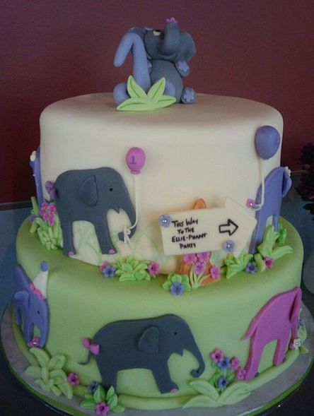 Two Tier Elephant Theme Birthday Cake For Kids Idea For Maybe 1