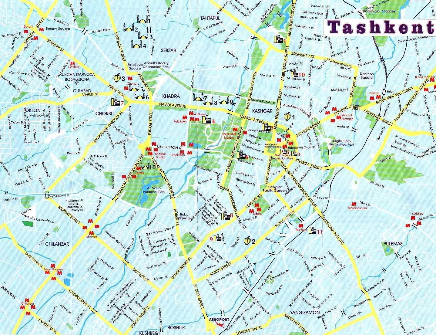 Tashkent Uzbekistan Tourist Map - Tashkent Uzbekistan • mappery ...