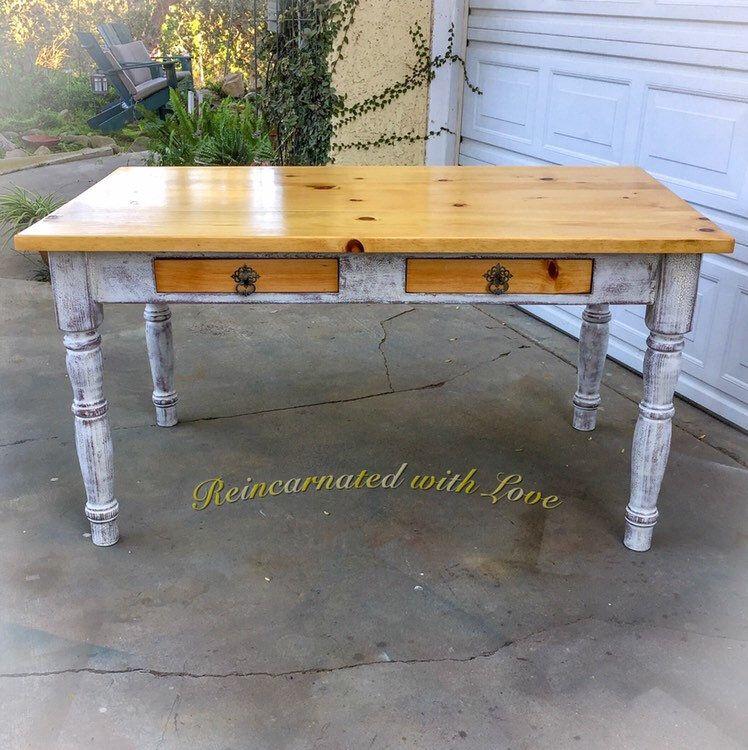 Vintage Farm Table Solid Pine Farmhouse