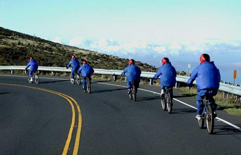 Haleakala volcano 27 mile bike ride after watching the