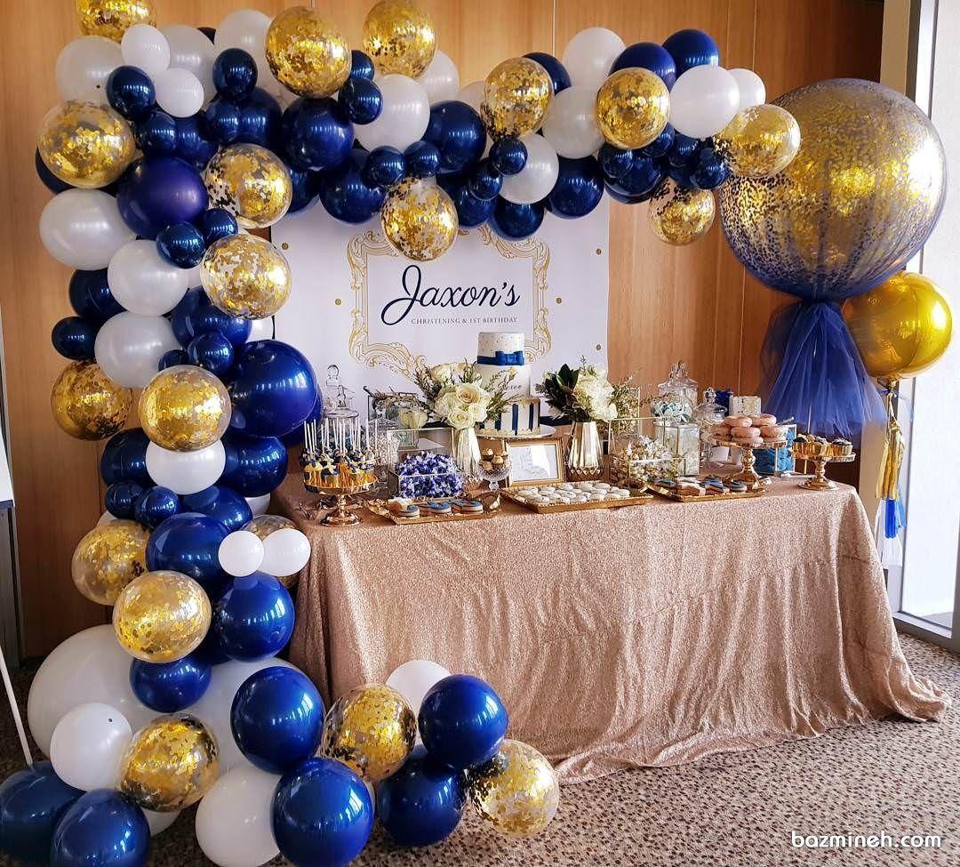 دکوراسیون و بادکنک آرایی جشن تولد با تم سفید آبی طلایی مناسب برای دخترها و پسرها Royal Prince Baby Shower Royal Baby Showers Confetti Balloons