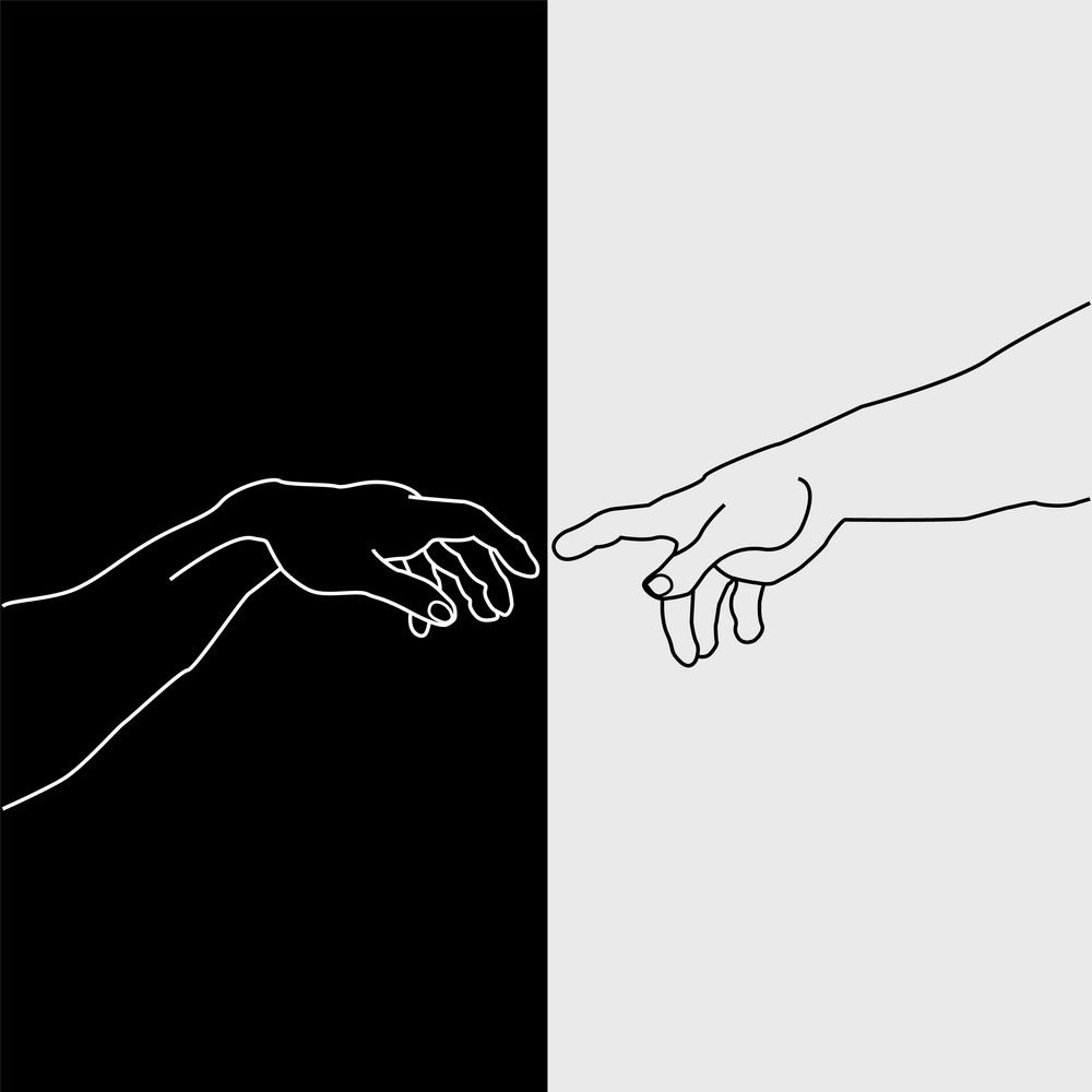 Hands of God and Adam- The creation of Adam Art Print by Shawlin
