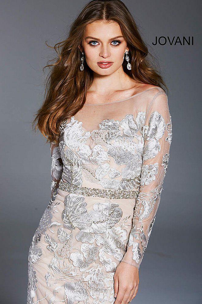 Champagne long fitted floral embroidered embellished belt ...