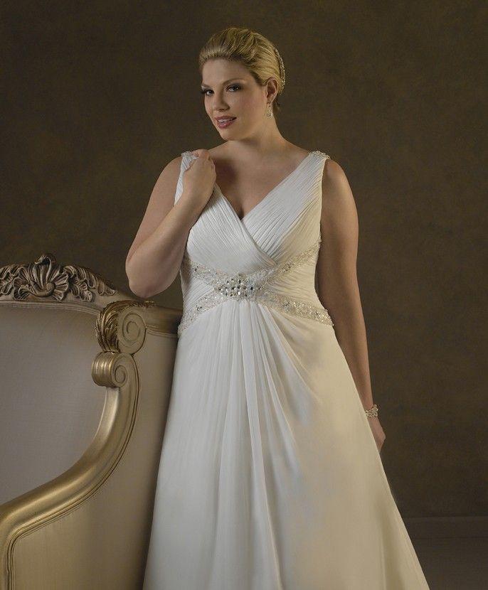 Wedding Dress Online Chiffon Sleeveless Beaded Shoulder Straps V Neckline A Line Semi Cathedral Train 2017 Custom Made Plus Size Wb