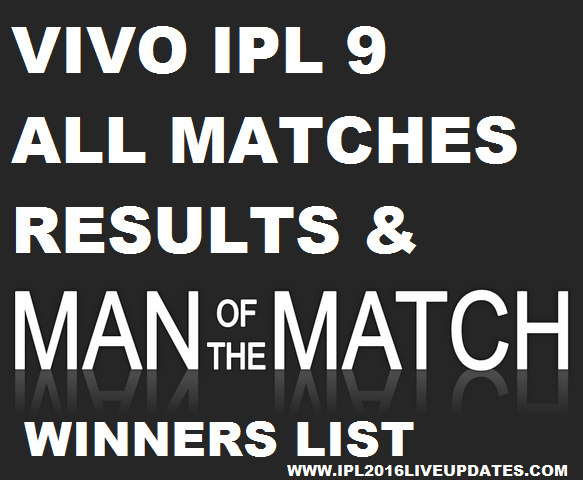 IPL 9 Matches Results & Man of the Match Winners Name List