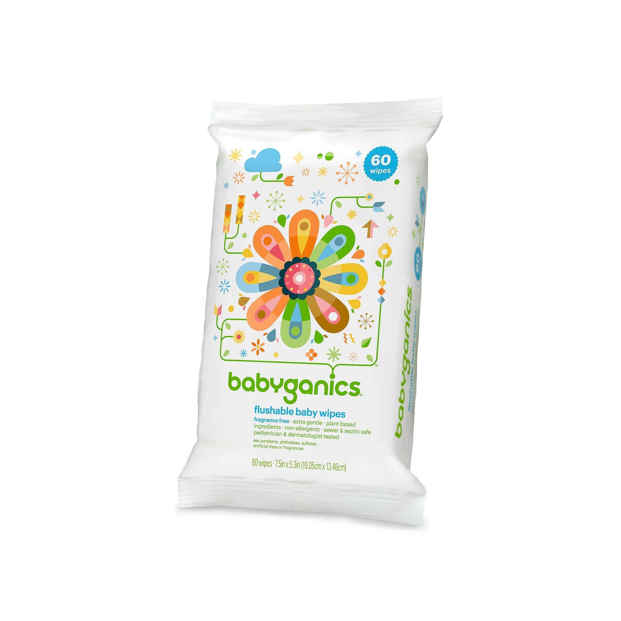 Babyganics On The Go 60 Pk Fragrance Free Flushable Wipes