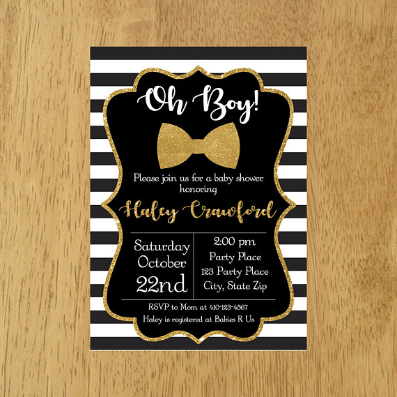 Little Man Baby Shower Invitation Black And Gold Oh Boy White S