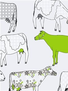 Bright Lime Green Cow Wallpaper From Kitchen Elements By Patton  Wallcoverings