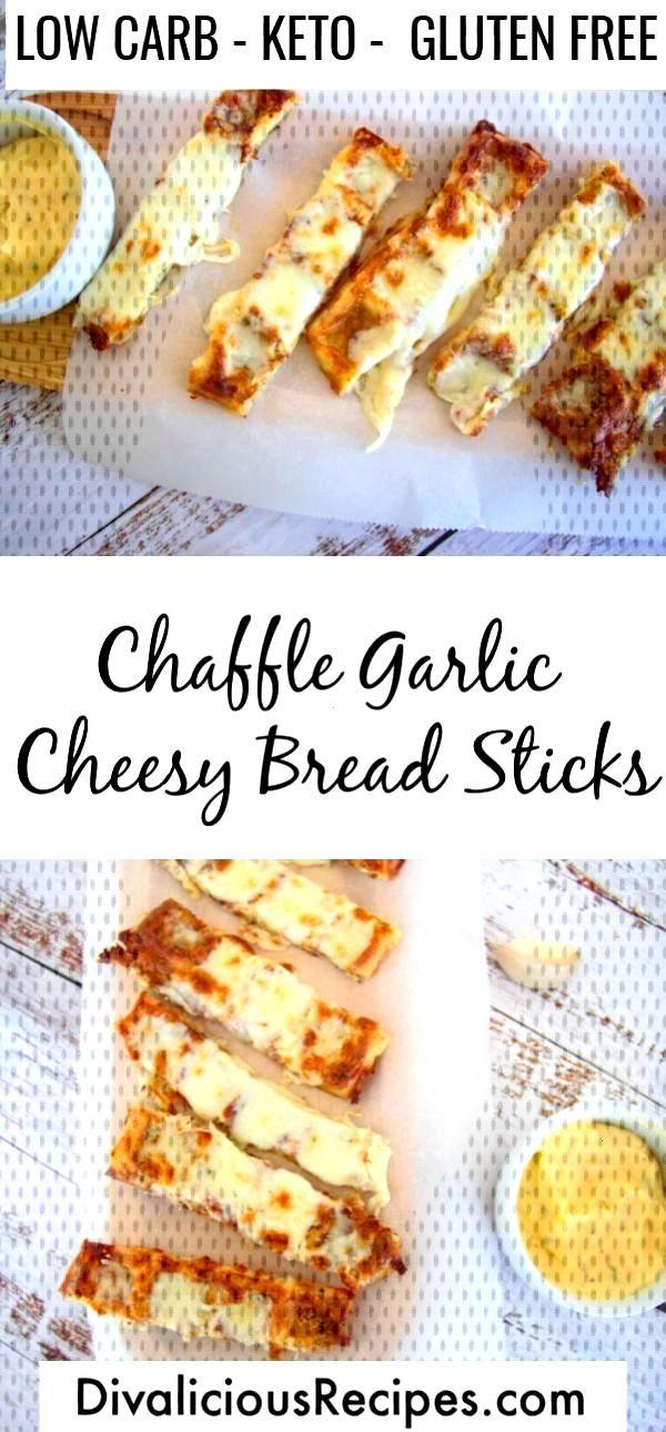 Keto Chaffle Garlic Cheesy Bread Sticks -