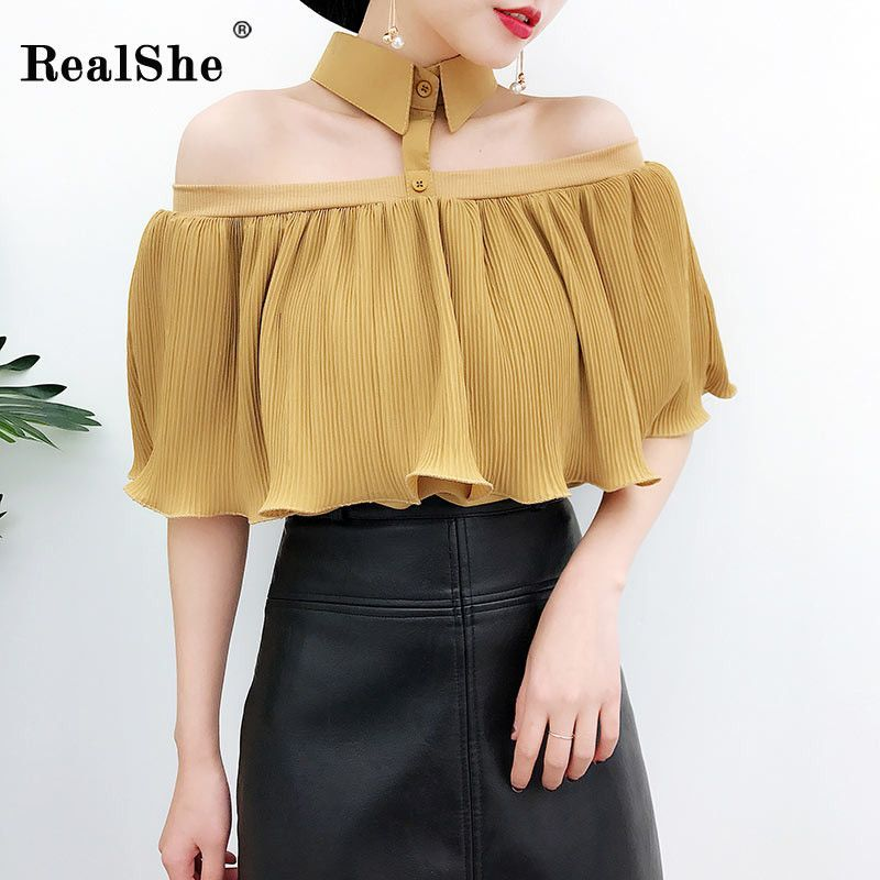 New in our shop! Collared Chiffon Crop Top  http://www.lovekikou.com/products/collared-chiffon-crop-top?utm_campaign=crowdfire&utm_content=crowdfire&utm_medium=social&utm_source=pinterest
