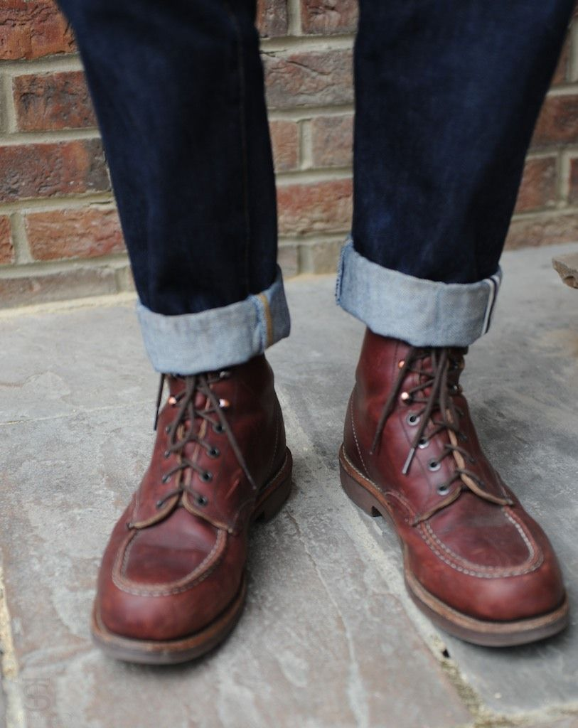 RED WING BOOTS: looks weird with the length of the jeans...to me ...