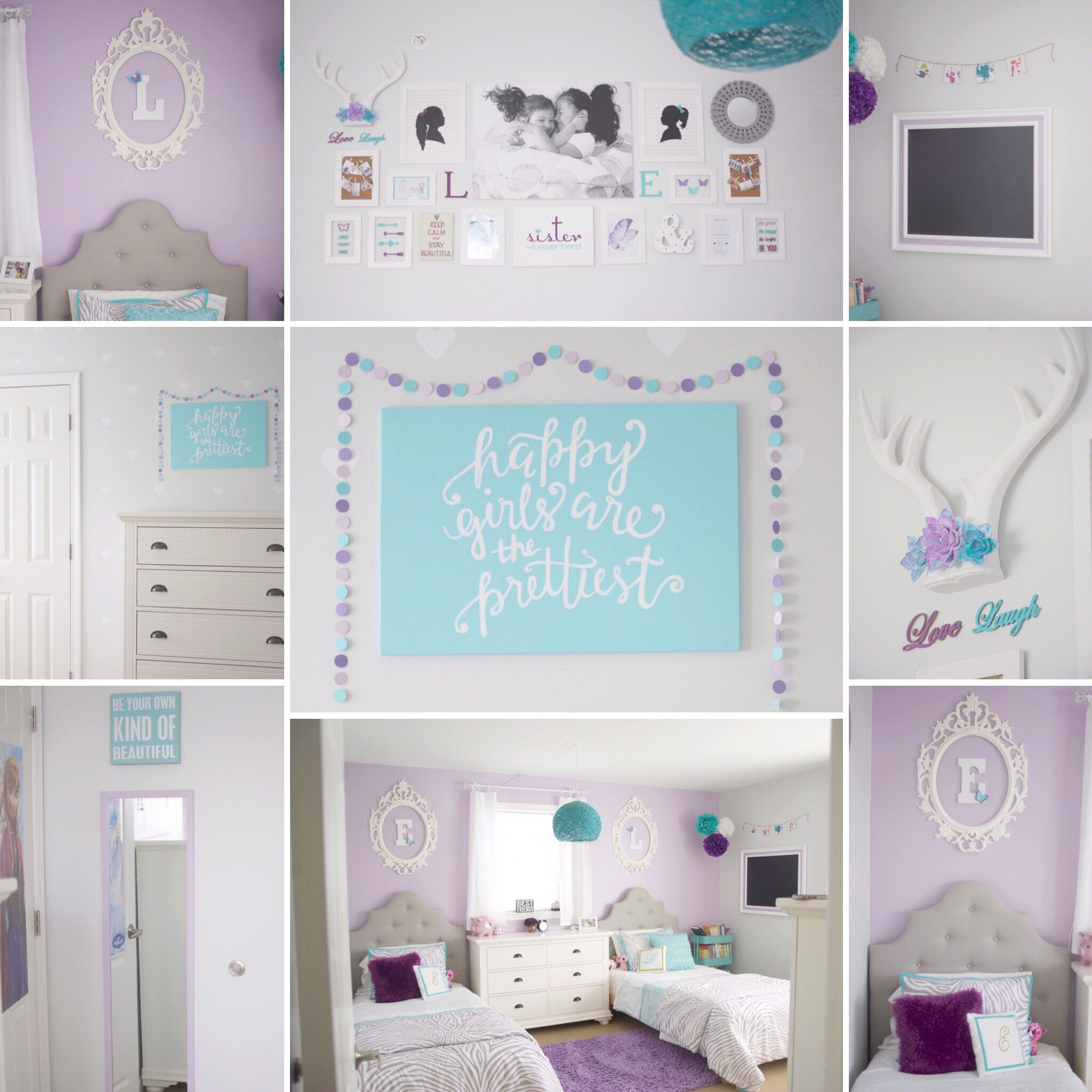 Turquoise and purple bedroom - Girls Shared Bedroom Purple And Teal Ikea Ung Frames Chalkboard Redo Target