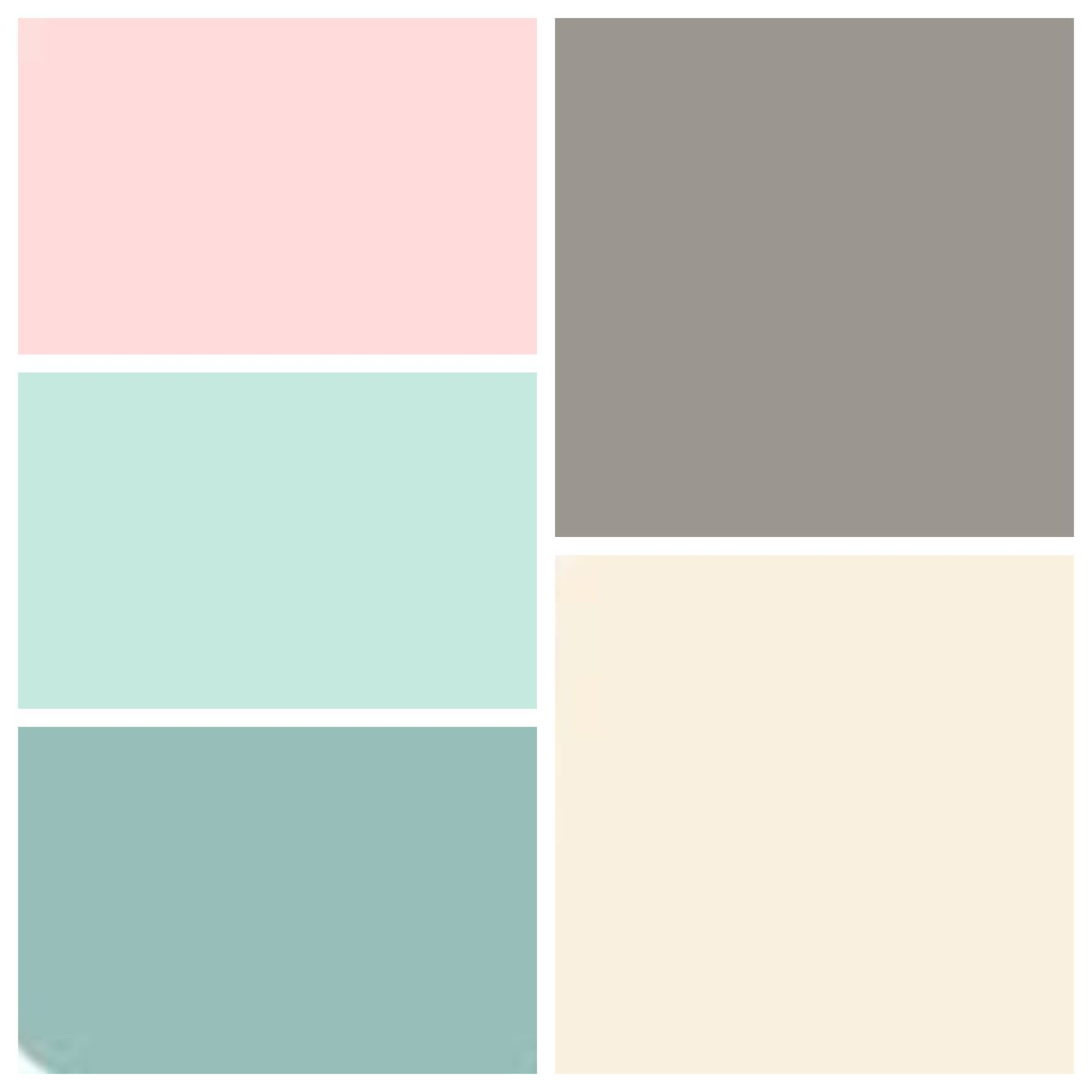Dusty Teal, Dusty Aqua, Pink Blush, Muted Gray And Soft