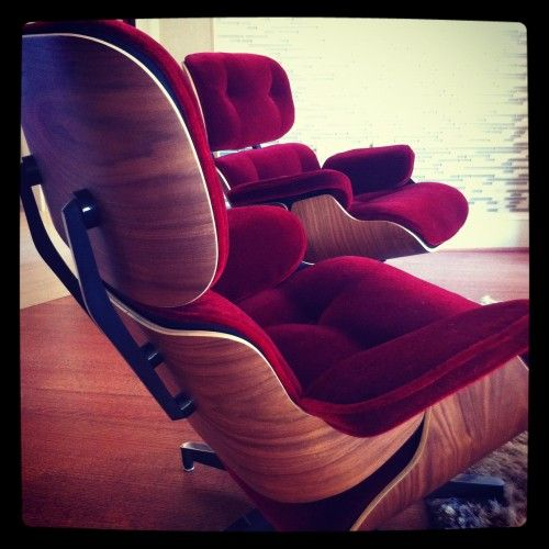 Red mohair reupholstered Eames Lounge chairs Home Objects and
