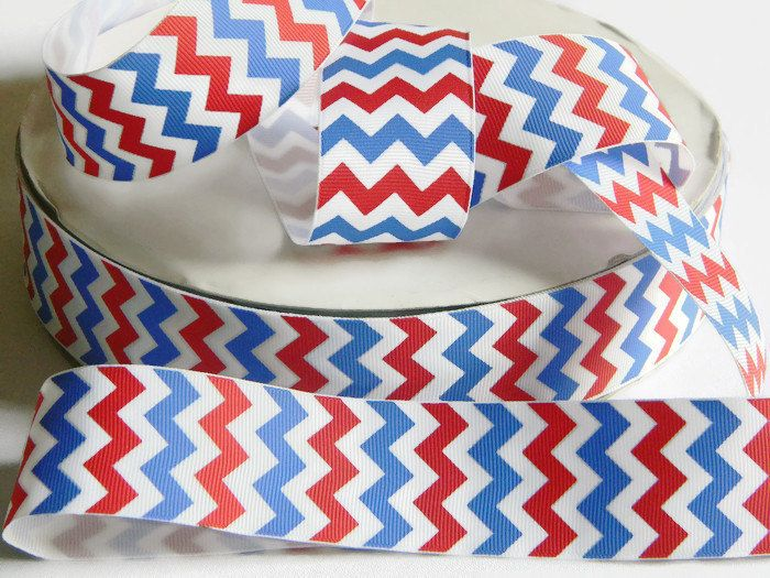 """white /& blue chevron 4th of July printed 1.5/"""" grosgrain ribbon 5 yards Red"""