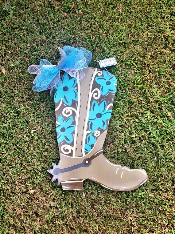 Cowboy Boot Door Hanger By Distressedaccents On Etsy 37 00