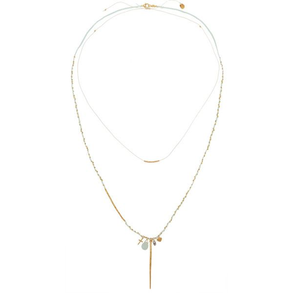 Chan Luu Set of two gold-plated thread necklaces (91 BHD) ❤ liked on Polyvore featuring jewelry, necklaces, gold, gold plated necklace, mint jewelry, layered necklace, layered bead necklace and lobster claw charms