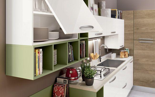 Cucina angolare moderna - Composizione 0467 - Dettaglio pensile e ...