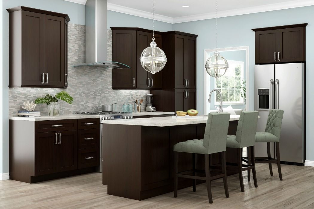 Dark Chocolate Shaker Ready To Assemble Kitchen Cabinets Home Kitchens Assembled Kitchen Cabinets Espresso Kitchen Cabinets