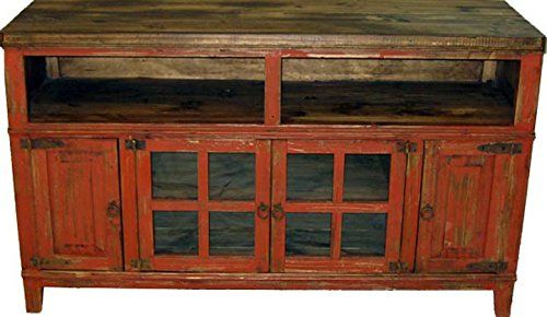 """60"""" Red Scraped TV Stand Console With Glass Doors RR http://www.amazon.com/dp/B00MAGBPXS/ref=cm_sw_r_pi_dp_VSqbub1GCC8K2"""