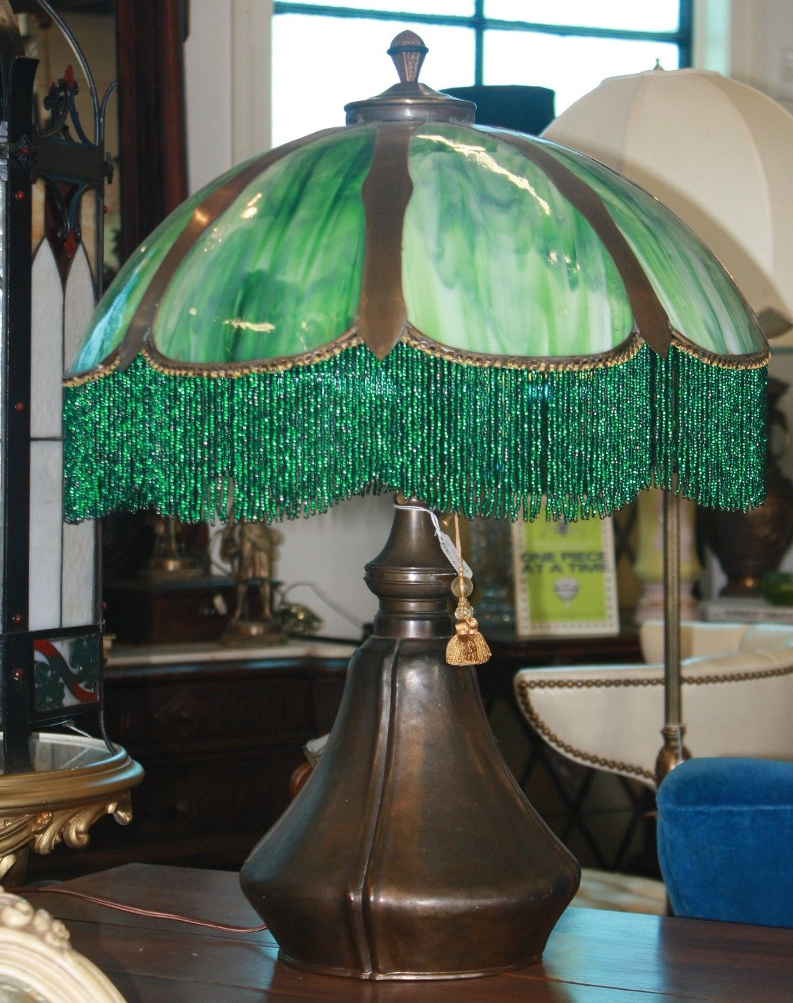 Neat vintage lamp i saw the light pinterest vintage lights green glass shade with beaded fringe aloadofball Gallery