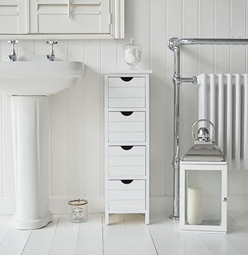 Beau Dorset Narrow Free Standing Bathroom Cabinet With 4 Storage Drawers