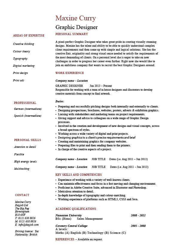 Graphic designer resume 1, example, Job description, designing - graphic designer resume examples