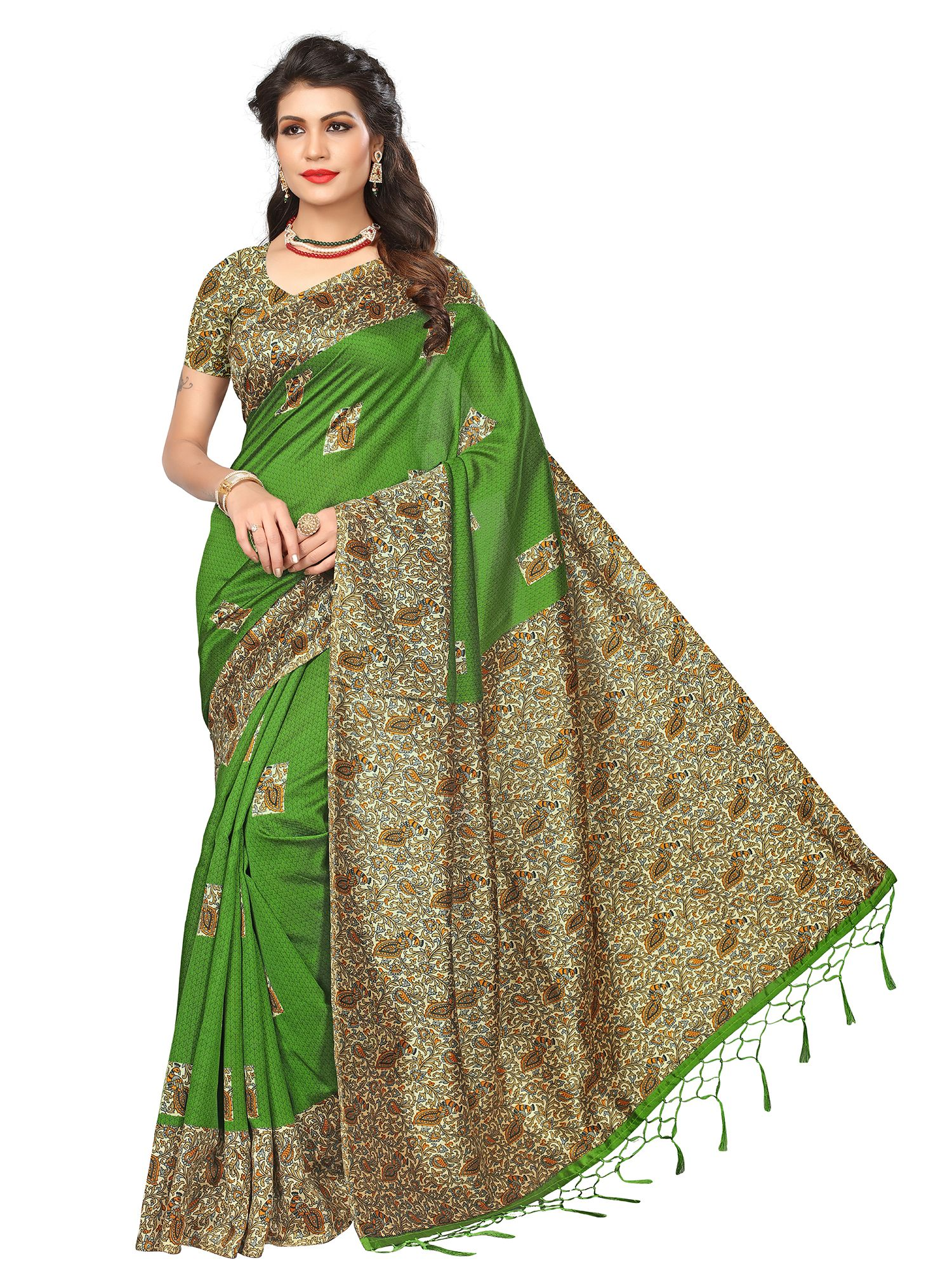 5486e747cede1c #sarees #green #silk #sari #blouse #flipkart #ratnavati #casualsarees #women