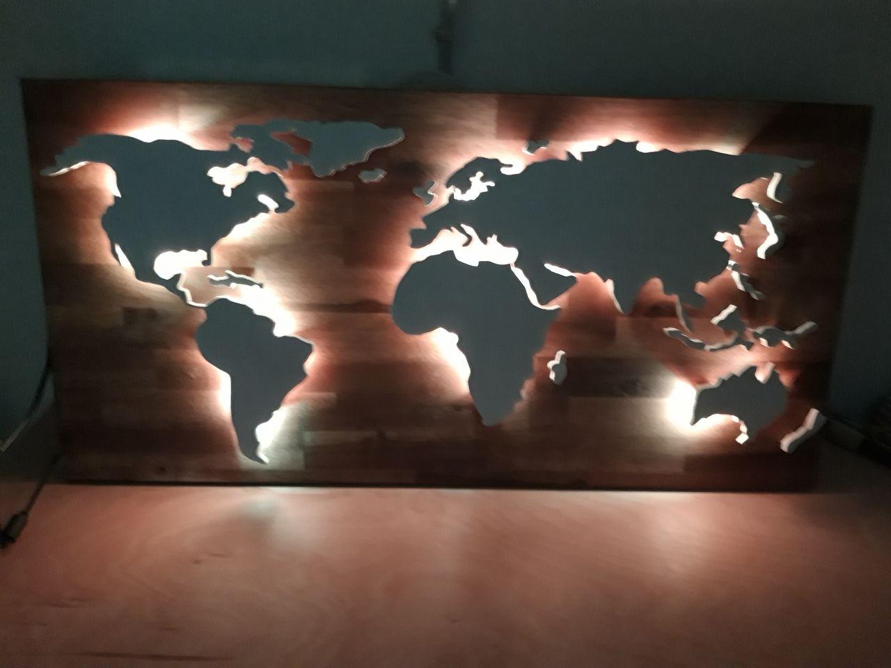 Weltkarte 3d Led Effekt Weltkarte Led Holzbearbeitungs Projekte