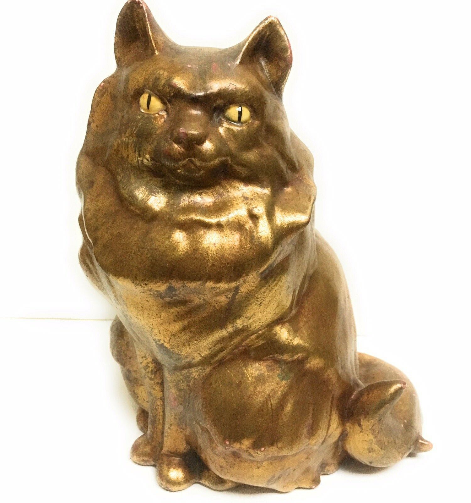 "Vintage Anthony 9"" WGold Leaf Pottery CAT Figurine 175"