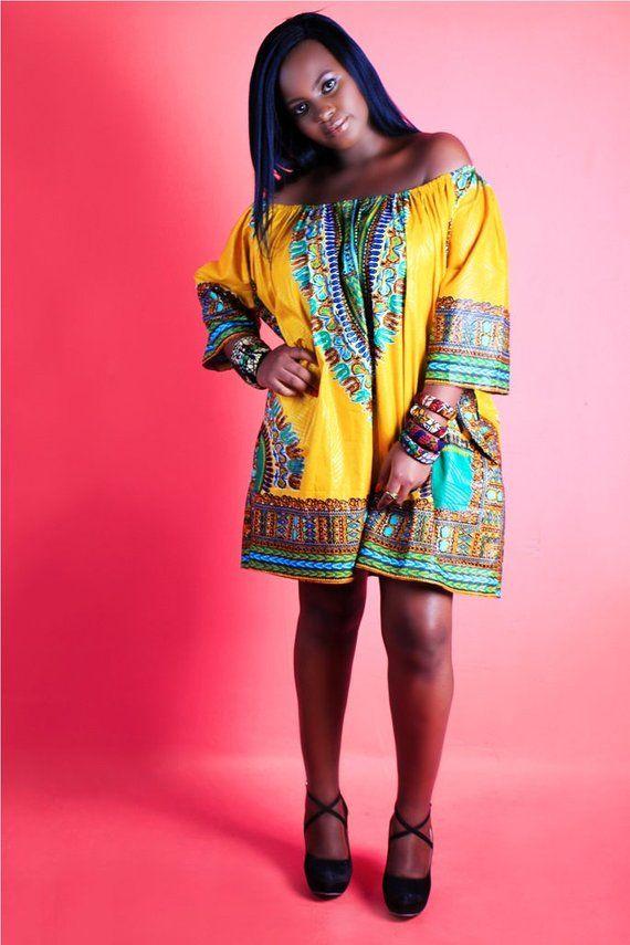 Dashki Fabric African Fashion Ankara Kitenge African: Shandelia Dashiki Dress